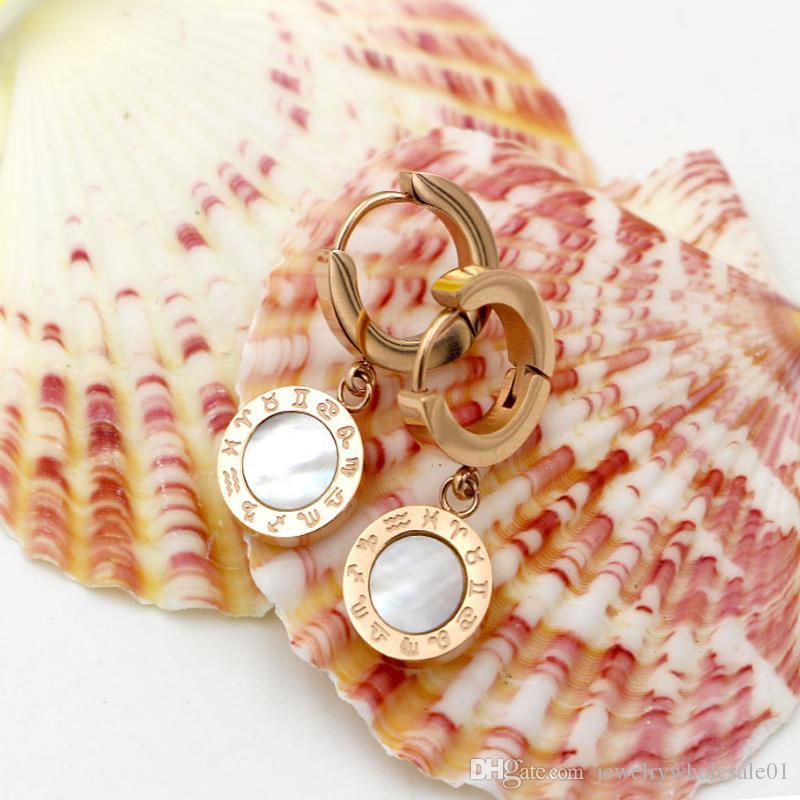 Venda quente moda brinco de ouro-cor do parafuso prisioneiro brincos para as mulheres shell preto brincos moda jóias