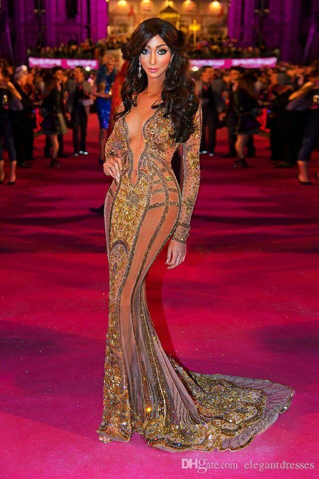 Ясмин мелко прогулка по красному ковру Платья знаменитостей Новый с длинным рукавом 2021 V Formal Вечернее вечернее платья