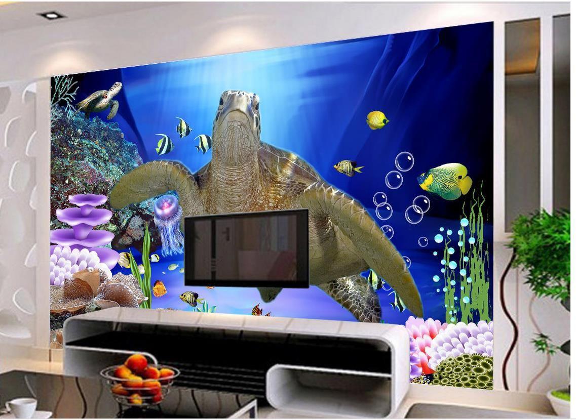 Home Decor Living Room Natural Art 3D mondo subacqueo tartaruga TV decorazione della parete pittura