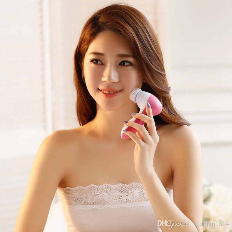 5 em 1 Máquina de Rosto de Lavagem Elétrica Facial Pore Cleaner Massagem de Limpeza Do Corpo Mini Beleza Da Pele Massageador Escova Frete Grátis