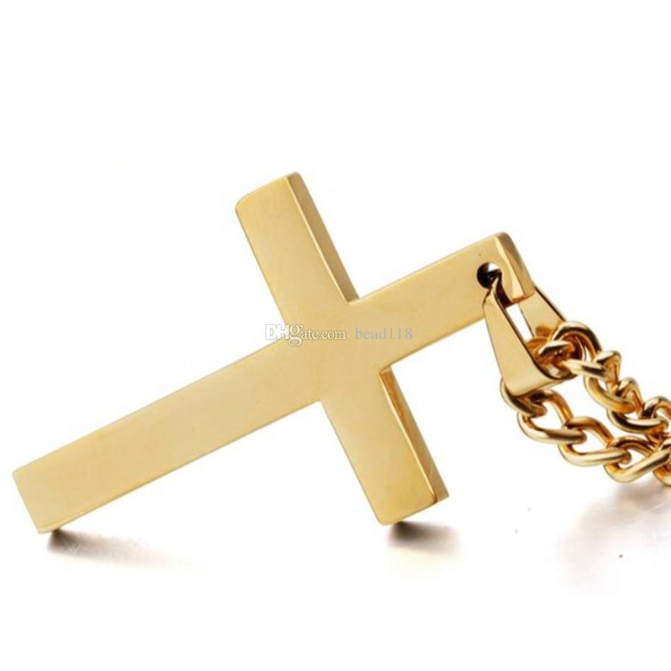 MIC Mode Legierung glänzend Kreuz Charme Anhänger Halskette für Männer Frauen, 22-24 Zoll 4 Farben /
