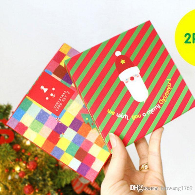 Disegni Di Natale Kawaii.10 Pz Scatola Diversi Disegni Per Biglietto Di Auguri Busta Di Natale Carta Kawaii Nuovo Anno Biglietto Di Auguri Set Spedizione Gratuita