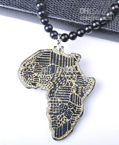 Mixte carte africaine bijoux de mode perles de plastique acrylique Hip hop collier perles acryliques Livraison gratuite