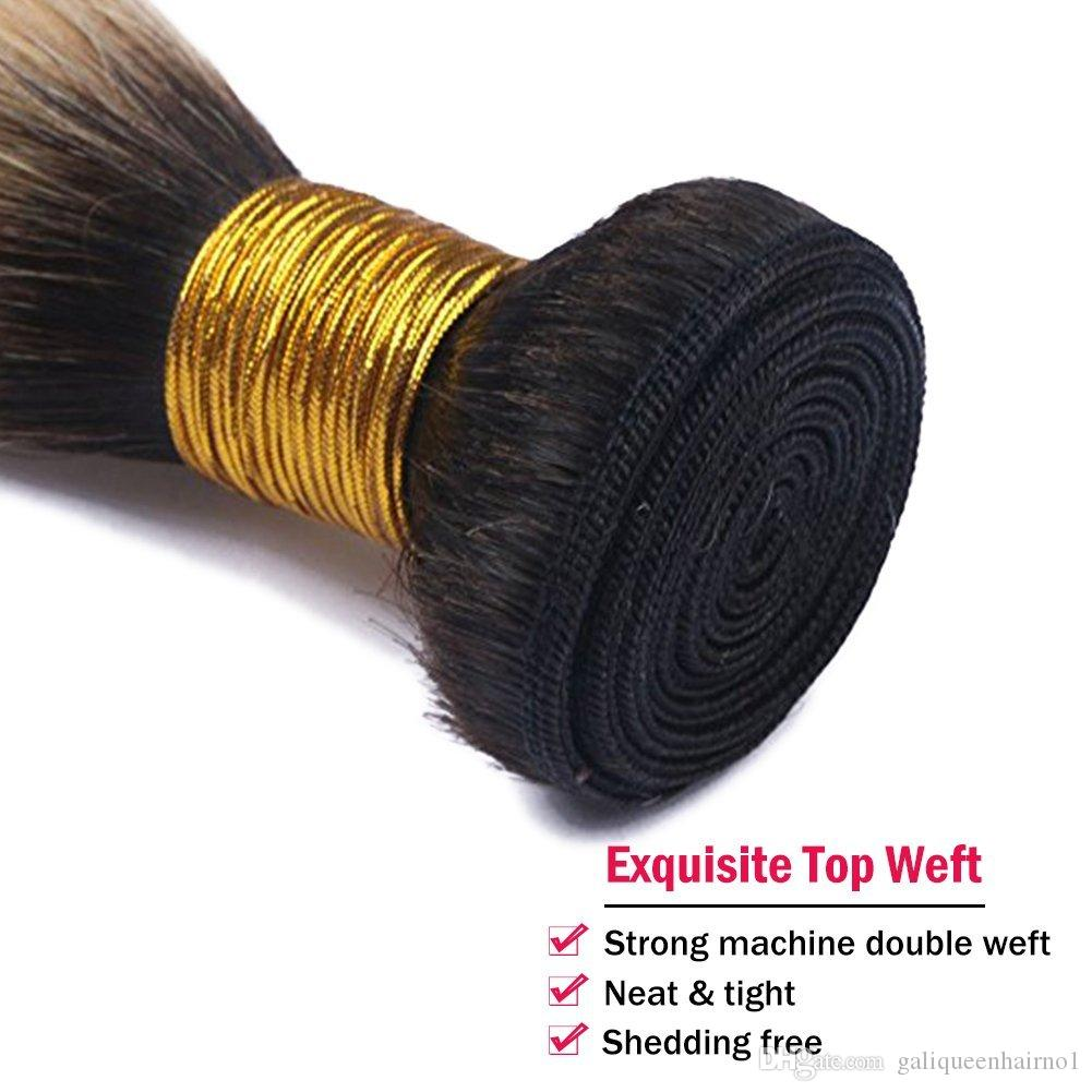 브라질 똑 바른 인간 머리는 Ombre T1b / 613 금발 2 톤 색깔 가득 차있는 머리 / 두 배 Wefts Remy 머리 연장을 길쌈한다