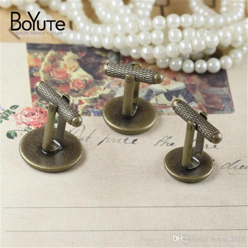 BoYuTe Round 12MM 14MM 16MM 18MM 20MM Cabochon Base Cufflinks Blank Tray Bezel Diy Jewelry Findings Components