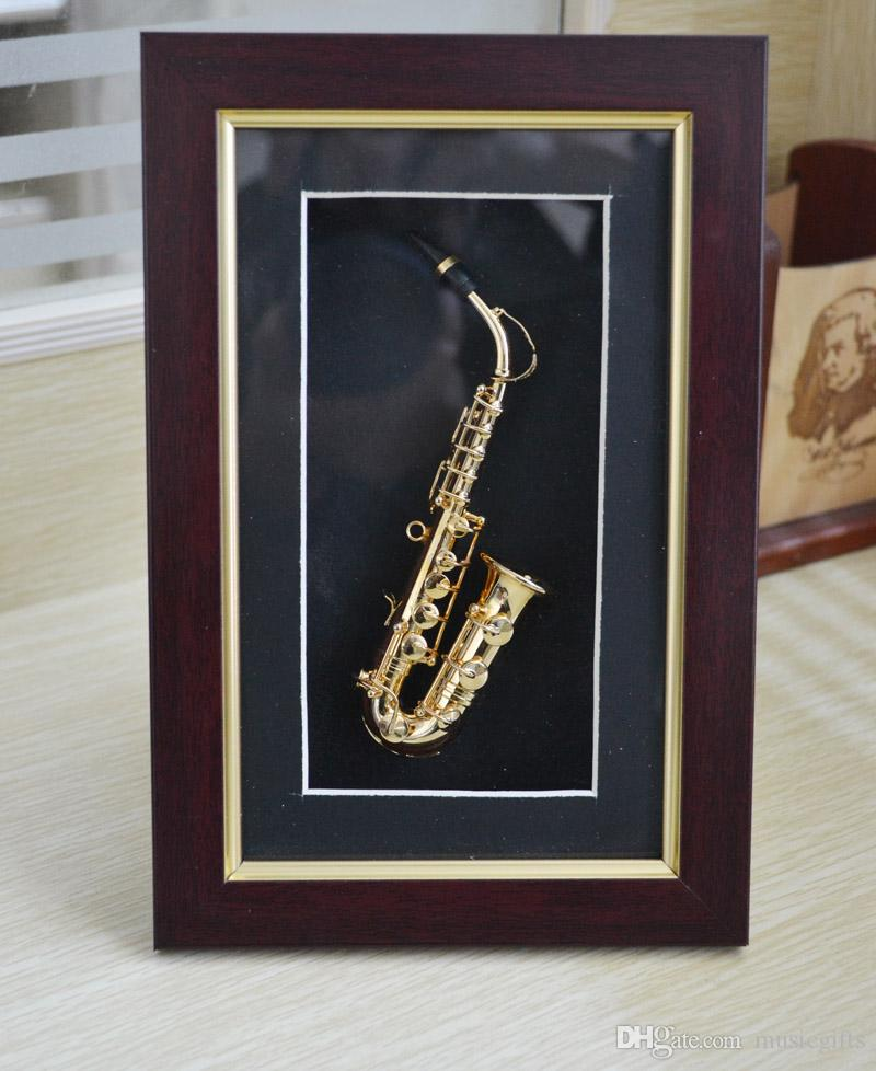Pure Hand-mad Mini Gold Saxophone Model Display Case Wall Frame Adornment Best Gifts