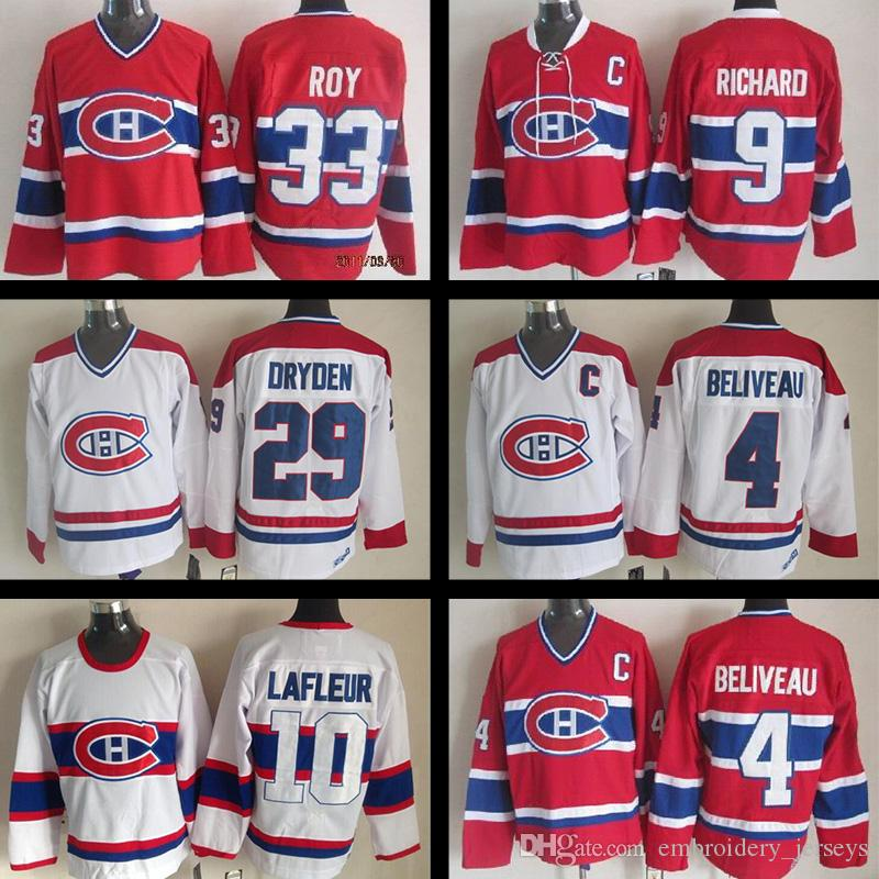 eb114dc3414 ... Patrick Roy Red CH CCM NHL Jersey 33 2017 Montreal Canadiens Hockey  Jersey 4 Jean Beliveau 9 Maur .