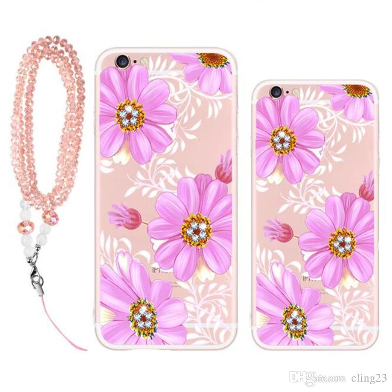 2017 wonderful and beautiful Multi-type cell phone cases Creative drill Lanyard phone cases Silicone back cover phone cases