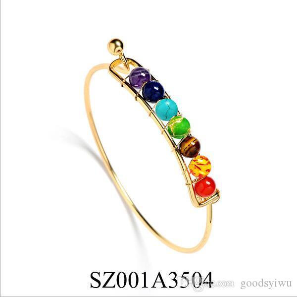 Ouro / prata india yoga energia natural pedra ágata pulseiras homens 7 chakra equilíbrio cura pulseira charme bangle para as mulheres jóias