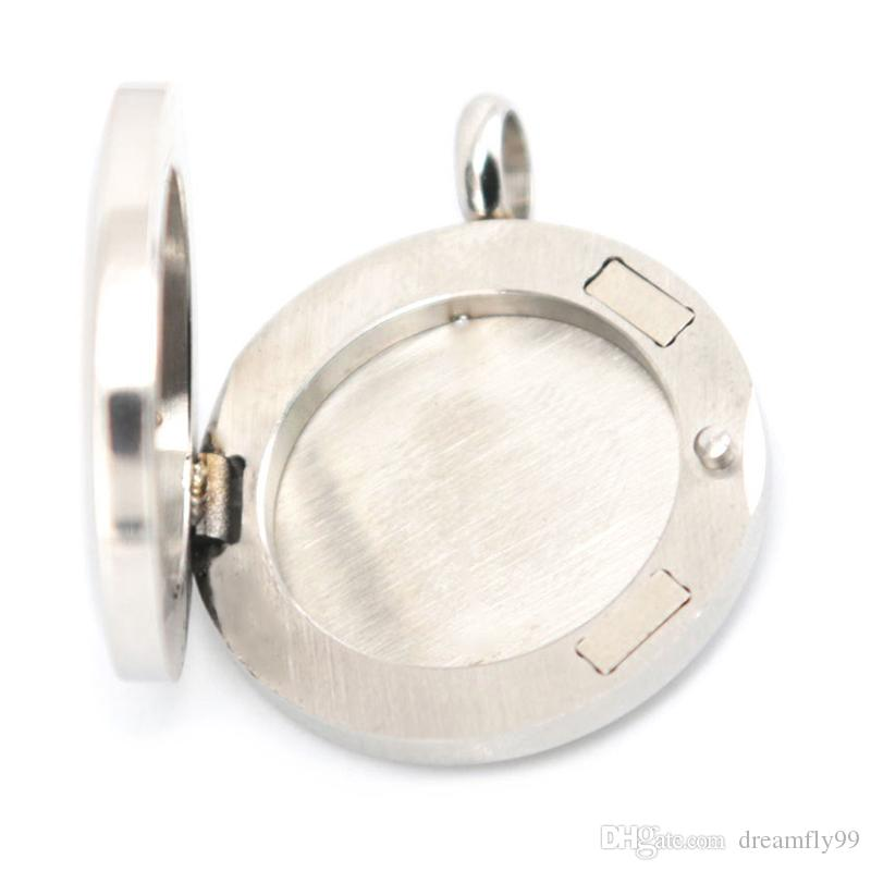 Bonito Flor 25mm Difusor de Aço Inoxidável 316 Colar Medalhão Medalhão Aroma Difusor Difusor Medalhões Enviar Óleos Almofadas Como Presentes