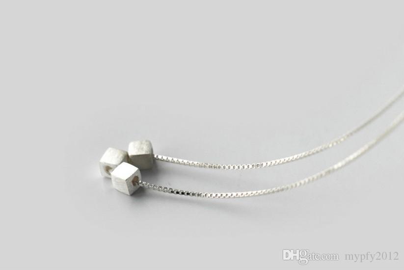 925 Colares De Prata Esterlina 3 Peças Quadrado Colares De Prata Jóias Collar Gargantilha Colares Para As Mulheres Presentes AL