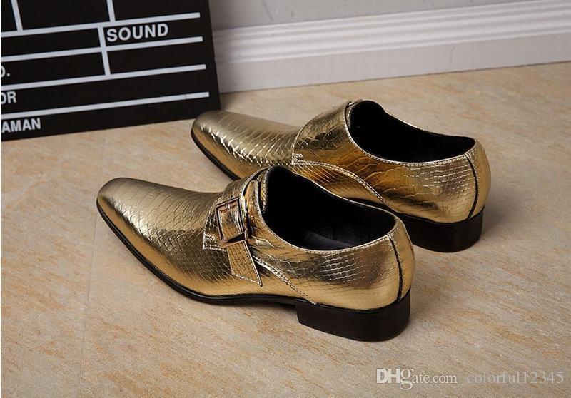 High Fashion Genuine Leather Snake Men Dress Shoes Gentleman Serpentine Buckle Footwear Party Dancing Shoe Male Boys Gold/Silver