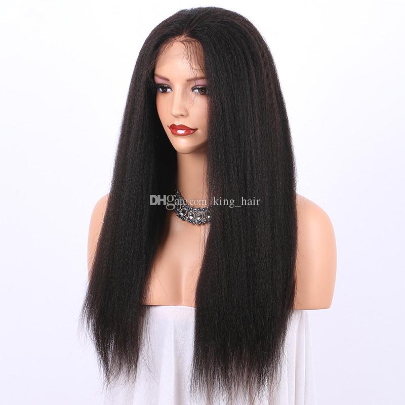 المنغولية العذراء الخشنة ياكي قبل التقطه 360 كامل الرباط شعر مستعار الإنسان 180٪ الكثافة غريب مستقيم 360 الرباط أمامي الباروكات