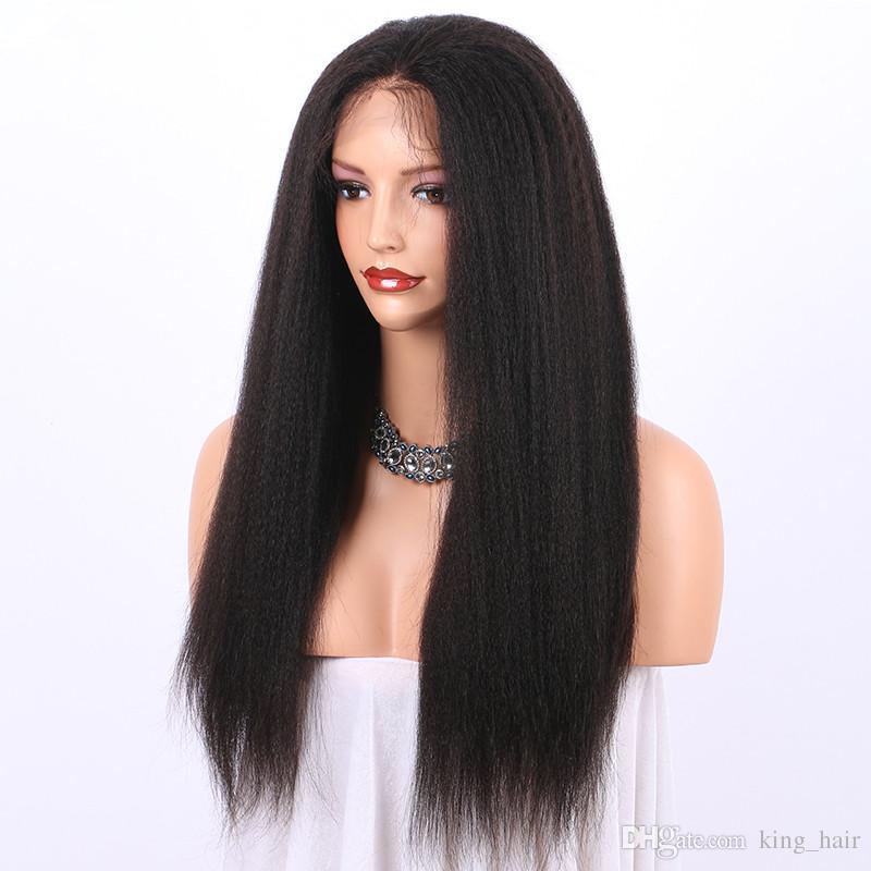Mongol Virgem Grosseiro Yaki Pré Arrancadas 360 Full Lace Peruca de Cabelo Humano 180% Densidade Kinky Em Linha Reta 360 Rendas Frontal perucas