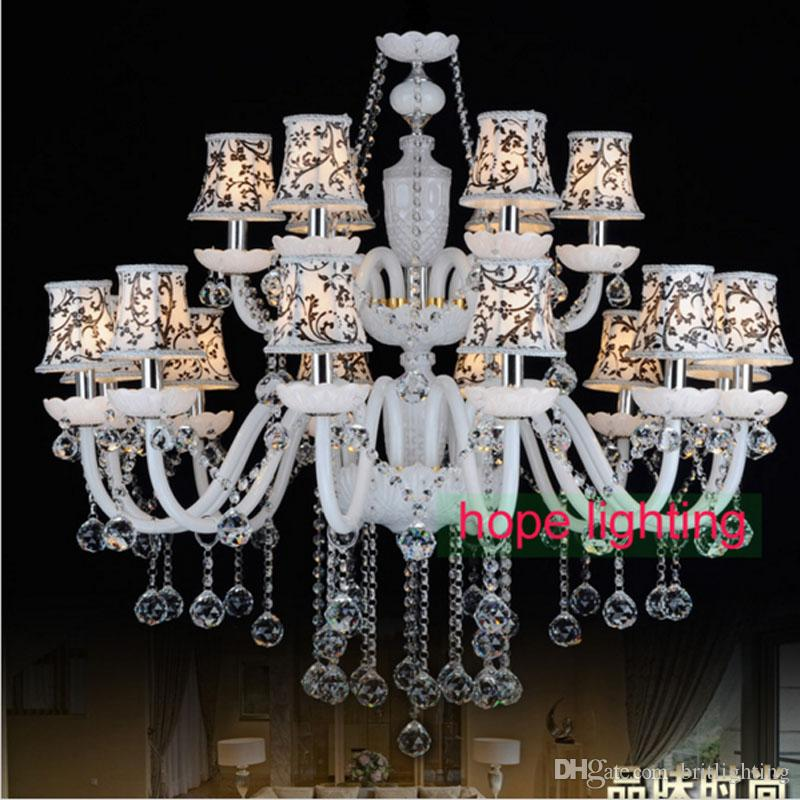Modern Living Room Crystal Chandelier With Fabric Lampshade European