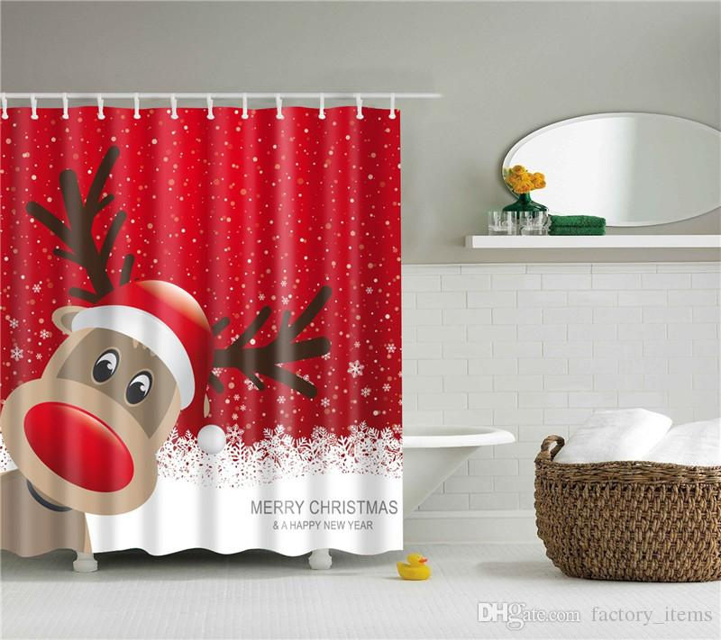 Großhandel Weihnachten Bad Vorhang Weihnachtsmann Wasserdicht ...
