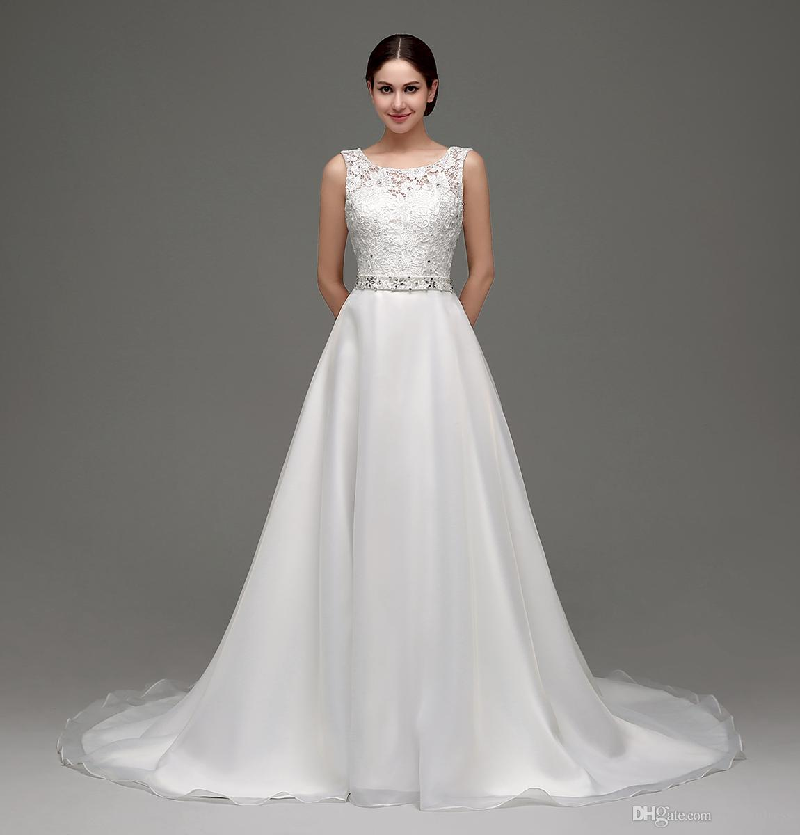 Discount 2017 Wedding Dresses Tank Sleeves A Line Lace Beading Belt Cheap  In Stock Bridal Wedding Gowns 24236 Simple Lace Wedding Dresses The Best  Wedding ... c4e97a391
