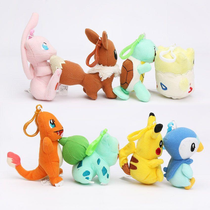 8 adet / grup pikachu bebek oyuncak bulbasaur piplup charmander eevee mew squirtle peluş doldurulmuş kolye oyuncak kanca ile