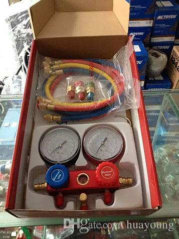 voiture AC A / C Manifold Set Manomètre Set Climatiseur Refrige R134a R12 R22, AC Manifold Diagnostic Manomètre Outil Set