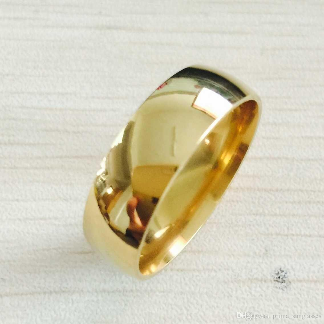 wedding yellow titanium wide simple gold thick new for dresses rings filled bands