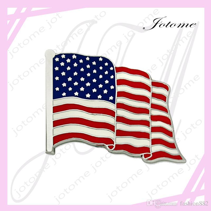 / 2017 도매 중국 공장 애국심을 위해 미국 미국 국기 쥬얼리 품질 실버 옷깃 핀 제작