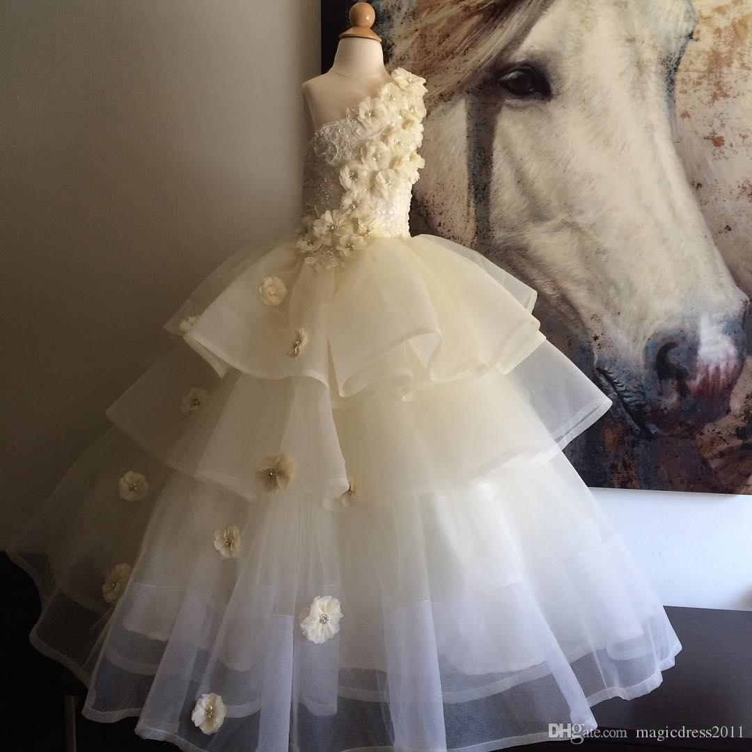 New Design Flower Girls  Dresses One Shoulder Sleeveless Organza Tiered  Little Bridesmaid Gowns Hand Made Flower Ball Gown Kids  Formal Gown  Dresses Shop ... ad4993faf