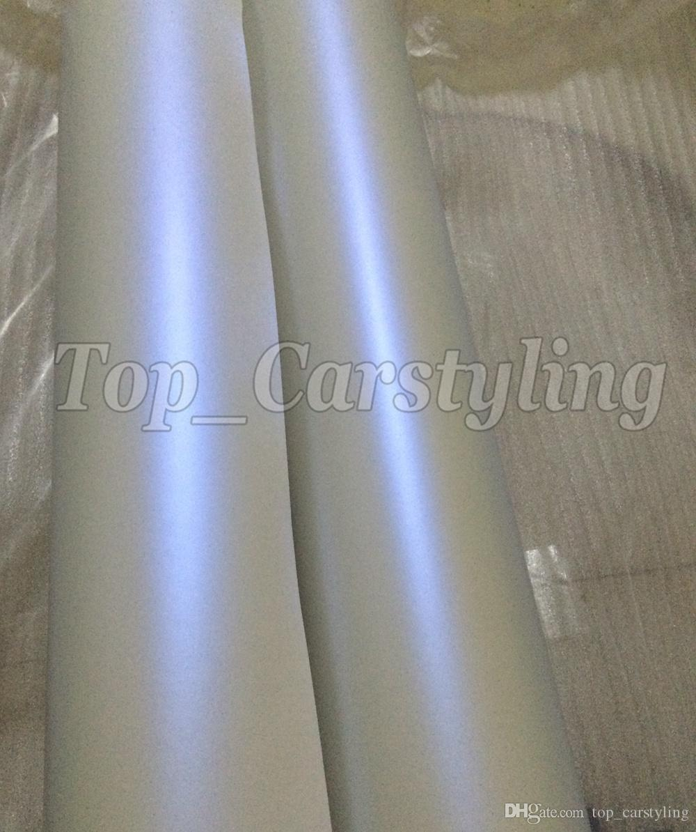 Premium Satin Pearl white to Blue shift Wrap With Pearlescent Matt Film Car Wrap styling Unique covering 1.52x20m/Roll 5x67ft