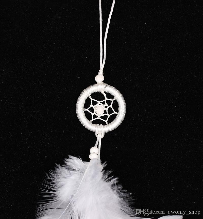 Wholesale Dream Catcher Car Decoration Party and Christmas Decorations White Feather Mobile and Key Chains Dreamcatchers