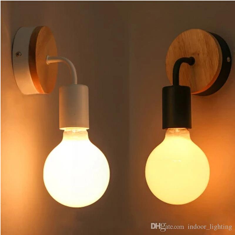 White Nordic Modern Led Wall Lamp Fixtures For Bedroom Wooden Wall Lights Sconce Lamparas Pared Led Wandlamp Arandela Lights & Lighting