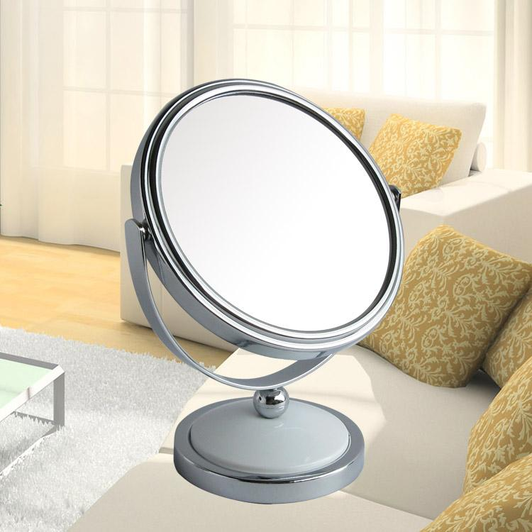 5 Inch Mini Desktop Makeup Mirror 2 Face Metal Bathroom 3x Magnifying 360 Rotating Large Wall Mirrors Cheap For From