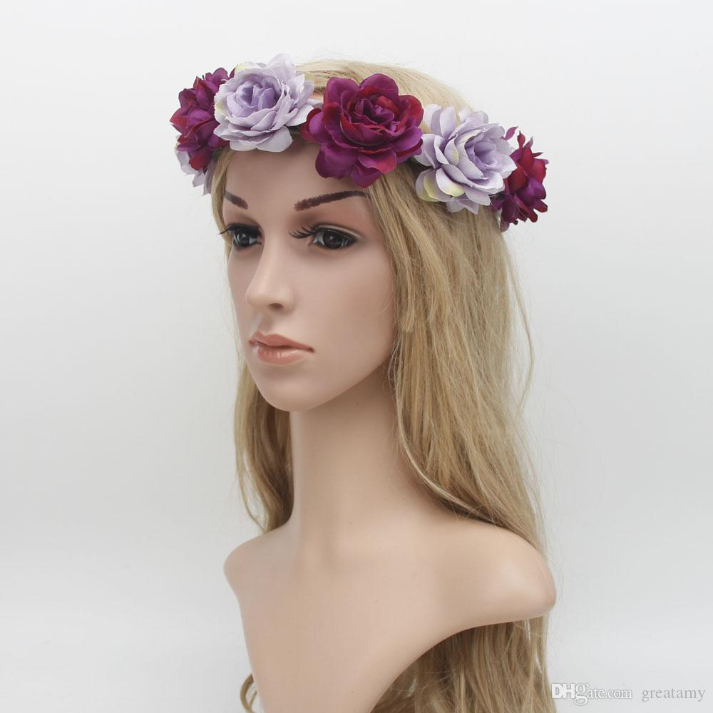 Böhmen Strand Rose Braut Kranz 2017 neue Mädchen Haarschmuck Zubehör heißer Verkauf hochwertig und sehr schön