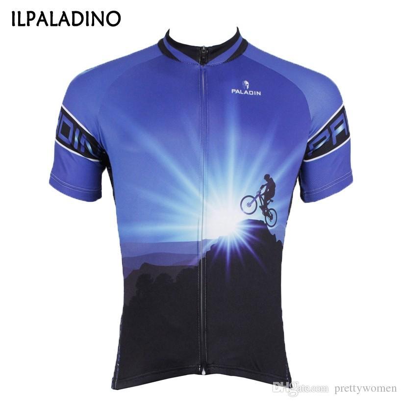 ILPALADINO رجل الدراجات جيرسي الدراجة الجبلية الدراجات الملابس دراجة قصيرة الأكمام تي شيرت الأزرق الدراجات جيرسي الأعلى / سترة