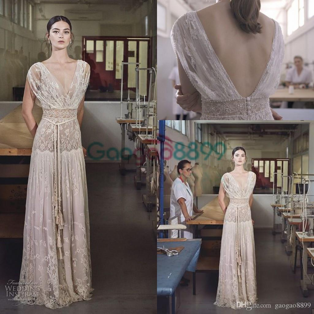 Discount 2017 collection lihi hod vintage wedding dresses fashion discount 2017 collection lihi hod vintage wedding dresses fashion lace embroidery v neck cap sleeve elegant country bohemian beach bridal gowns uk wedding ombrellifo Images