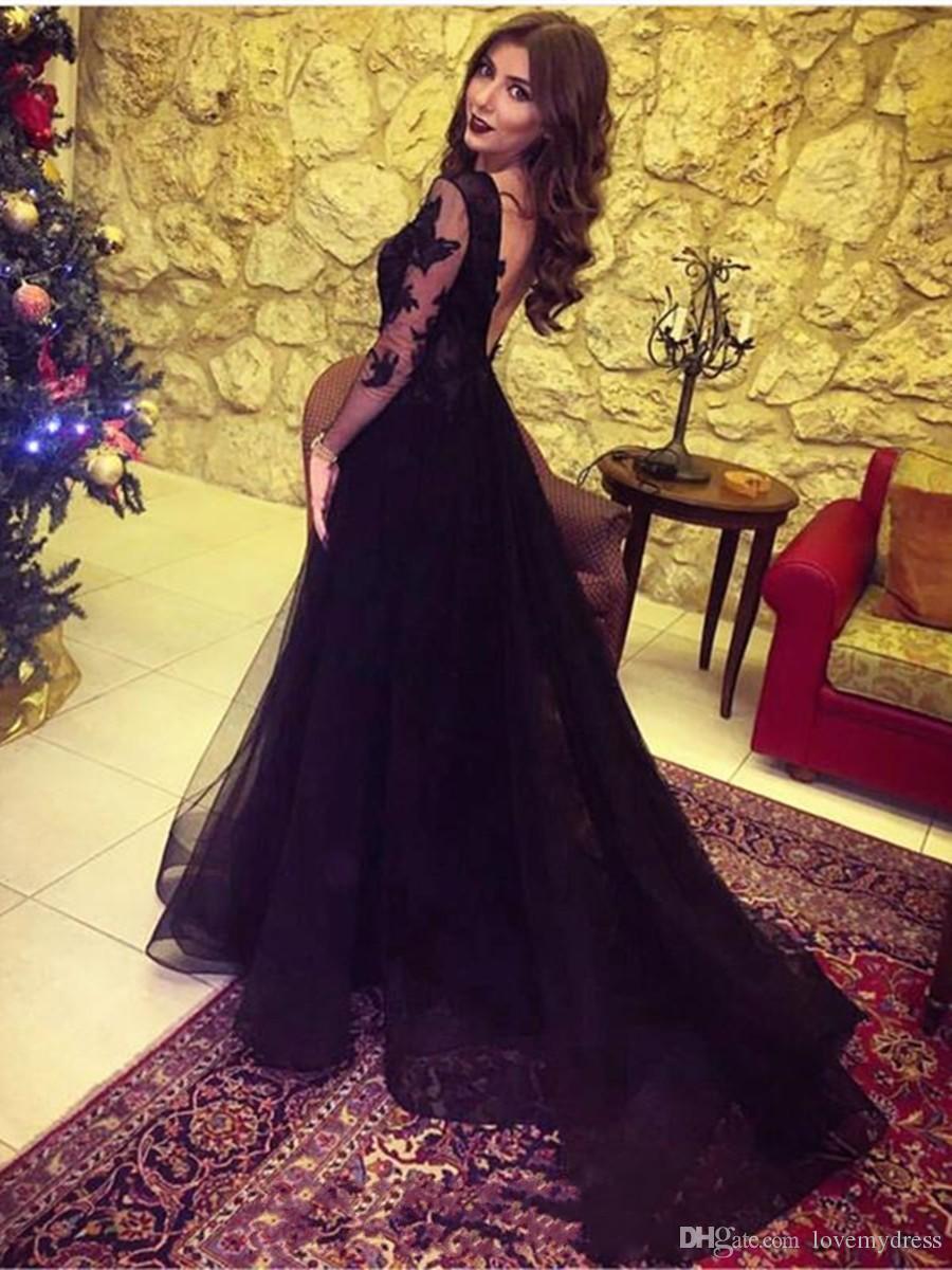 Sexy gasa negro hendiduras vestido de fiesta barato V cuello con ilusión de manga larga de encaje apliques Imperio cintura longitud del piso de noche vestidos formales