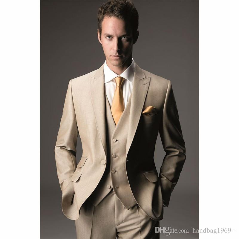 a12d83947a55 New Arrivals One Button Groom Tuxedos Peak Lapel Groomsmen Best Man ...