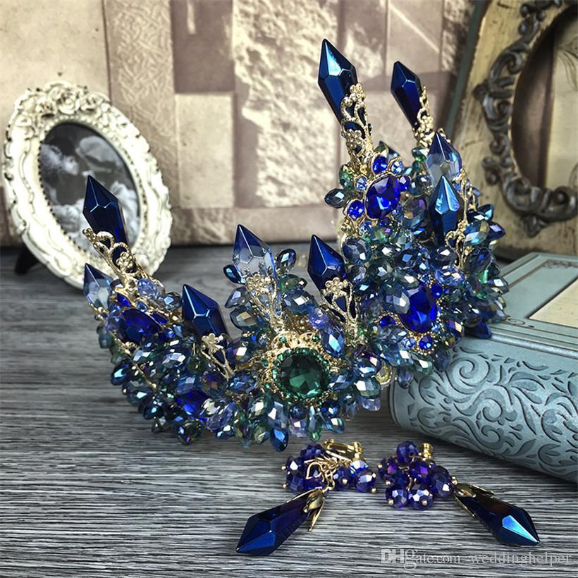 Vintage Wedding Bridal Blue Crystal Rhinestone Crown Tall Tiara Headband Hair Accessories Princess Queen Headdress Earrings Jewelry Set