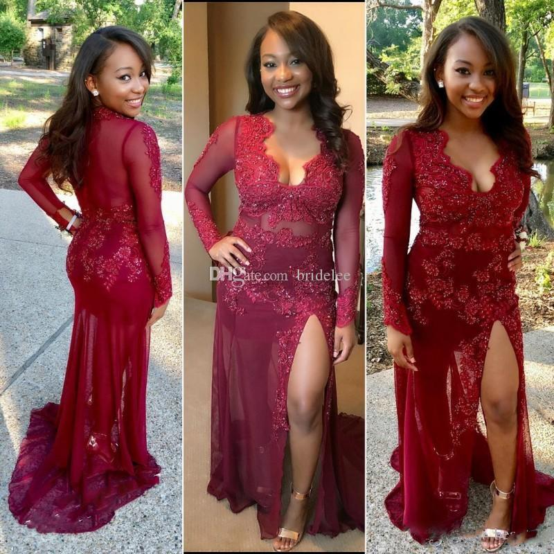 Burgundy Prom Dresses Plus Size Lace Mermaid