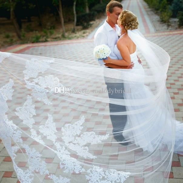 Hot Sales 3M Long One Layer Wedding Veils Cathedral Bridal Accessories Lace Edge Bridal Veil with Comb veu de noiva longo