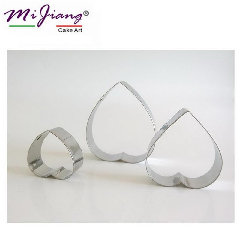 Mijiang Stainless Steel Heart Shaped Cookie Cutter Set Biscuit Fondant Mould Slicer DIY Cake Decorating Tools Kitchen Accessories A302