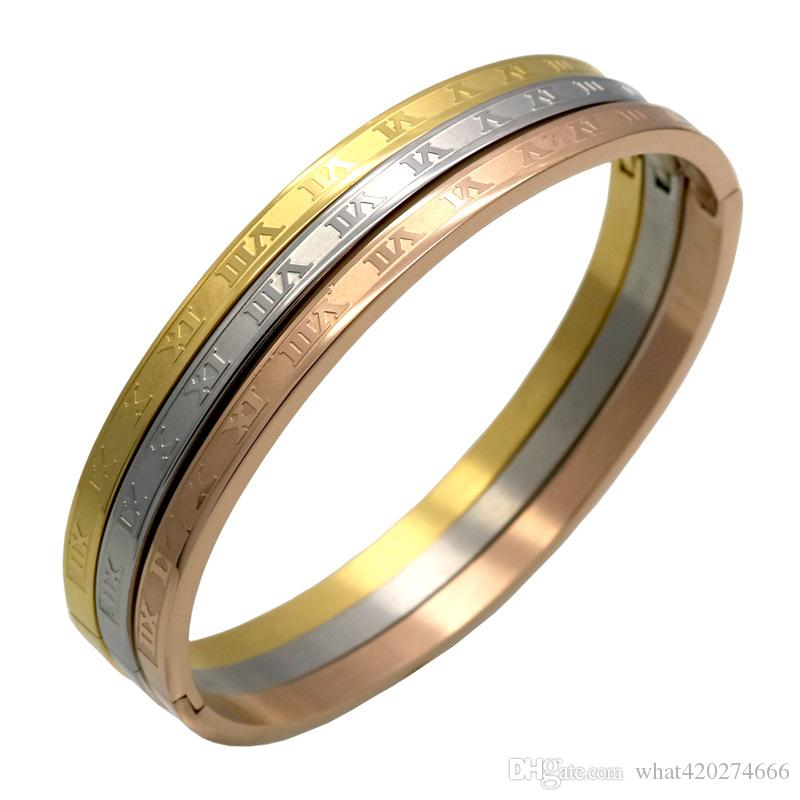 316L Stainless Steel Carving Roman Numerals Fashion Bracelets & Bangles Fine Jewelry Wedding Couple Jewelry For Women