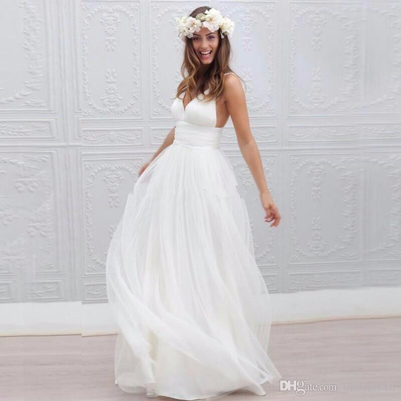 2017 Neue Sommer-Strand-Boho-Hochzeits-Kleider Eine Linie reizvoller V  Ansatz-aufgeteilte lange Chiffon- Brautkleider böhmische