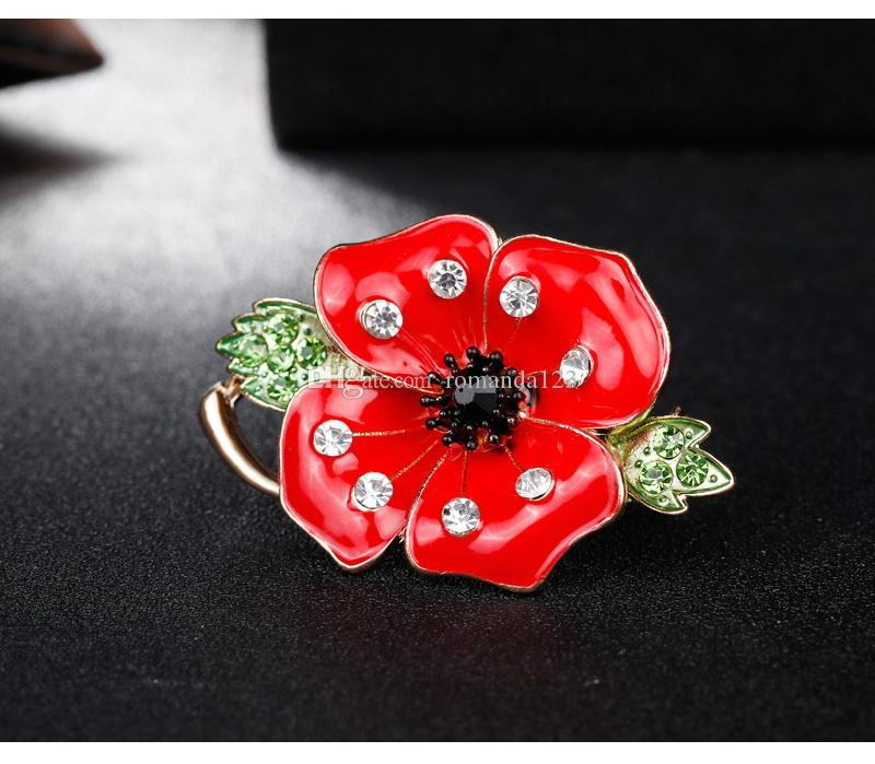 New Style Red Flower Green Leaf Poppy Enamel Brooch Lapel Pin Collar Pins for Women Men Jewelry UK Remebrance Day Souvenir