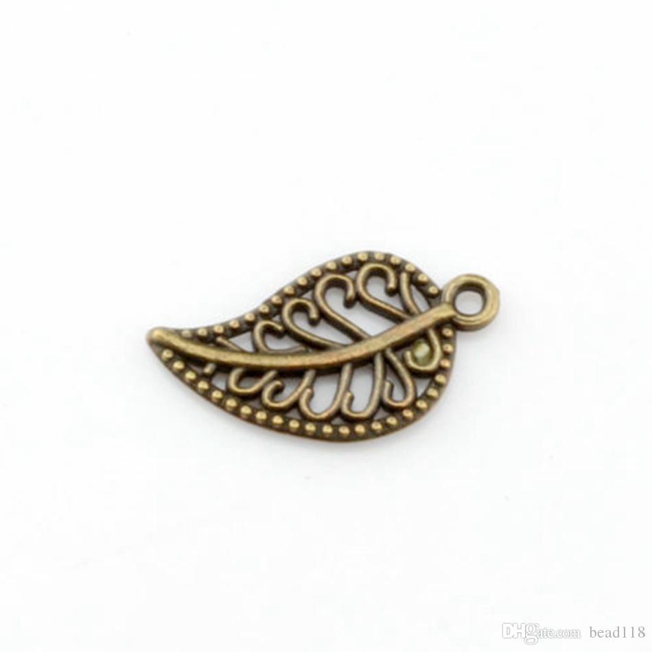 300 stücke Antike Bronze Schöne Hohl Mini Blatt Charme Anhänger für Schmuckherstellung Armband Halskette Ergebnisse 10.5x19mm