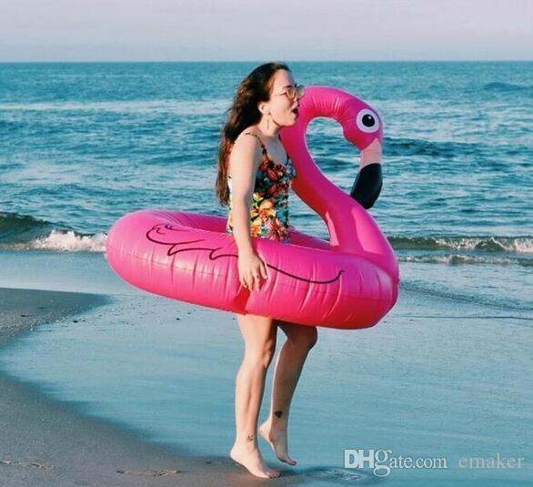 120 cm Holiday Flamingo Swimming Laps Pool Party Flotador de juguete Pink Swan Beach Swimming Ring Inflable Animal Lifebuoy DHL Swimming Floats