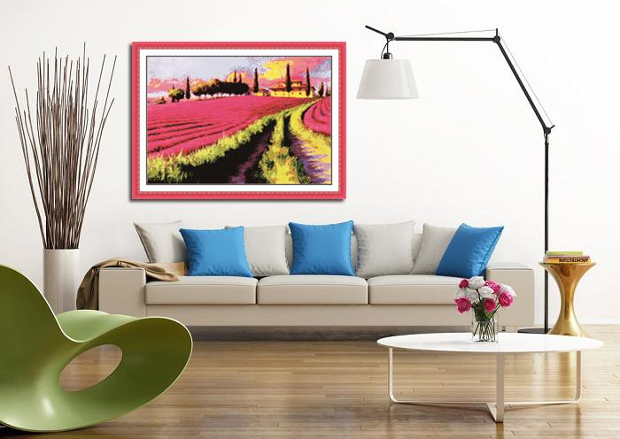 Lavender garden,handmade Cross Stitch kits,needlework Sets, embroide Counted Printed on canvas DMC 11CT 14CT ,flower Scenery Home wall Decor