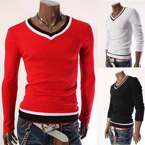 9f09c564e868 Sweetheart Neckline T Shirt Men Long Sleeve Heart Shaper Collar Designer V  Neck Fashion Casual Slim Fit For Man T Shirts 2017 Awesome Shirt Design  Free T ...
