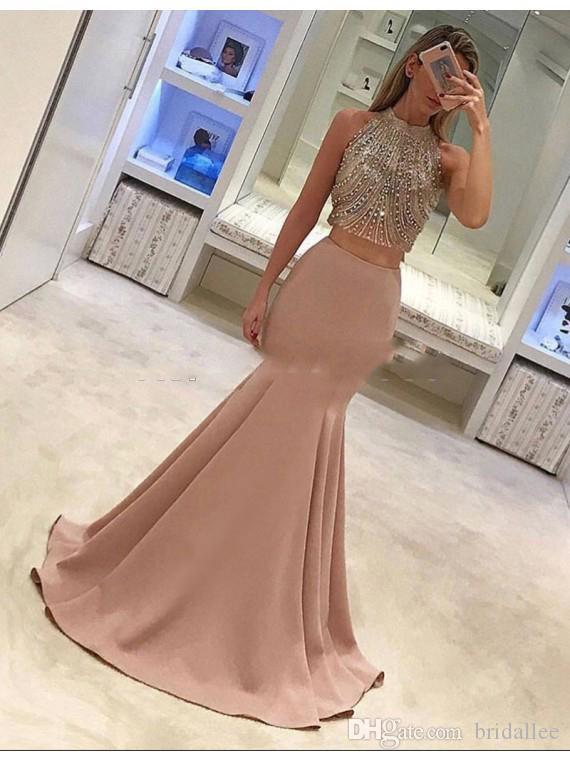 2017 Splendido abito a maniche corte spacco alto rosa menta verde abito Arabia Saudita New Ruffed Mermaid Prom Gowns Party Dress