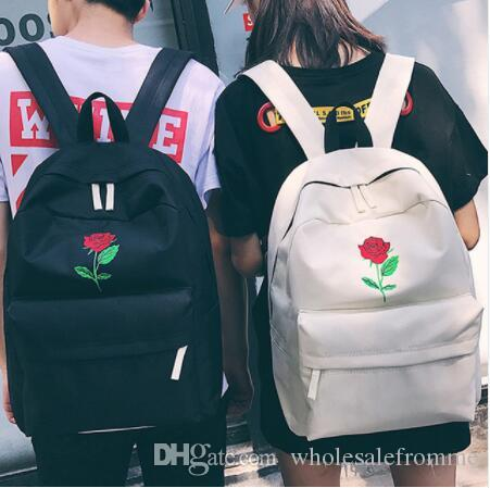 852f0f090a09 Men Canvas Heart Backpack Cute Women Rose Embroidery Backpacks For Teenagers  Women S Travel Bags Mochilas Rucksack School Bags Side Bags Kids Backpack  From ...