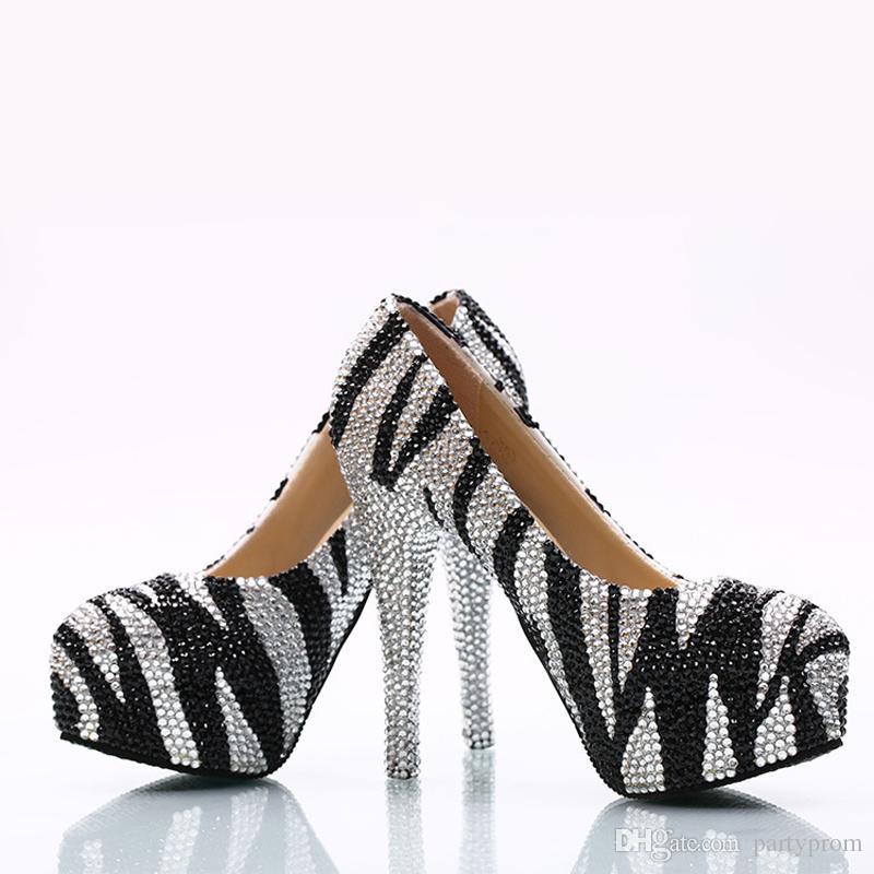 Zapatos de boda de diamantes de imitación negros y plateados Bombas de fiesta de la tarde de dama Zapatos de baile para banquetes de tacones altos de Cinderella