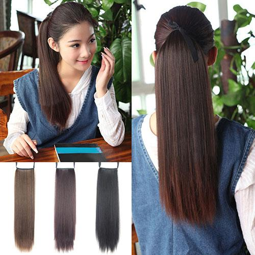 Wholesale women clip in wrap on straight long ponytail hair wholesale women clip in wrap on straight long ponytail hair extensions hairpiece one piece hair extension sleek hair extensions from baibuju7 pmusecretfo Gallery